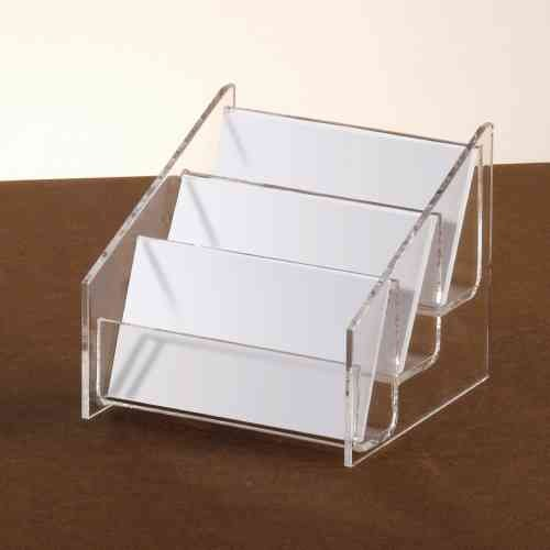 Acrylic desktop business card holder 3 pocket 3 tier clear acrylic desktop business card holder colourmoves Image collections