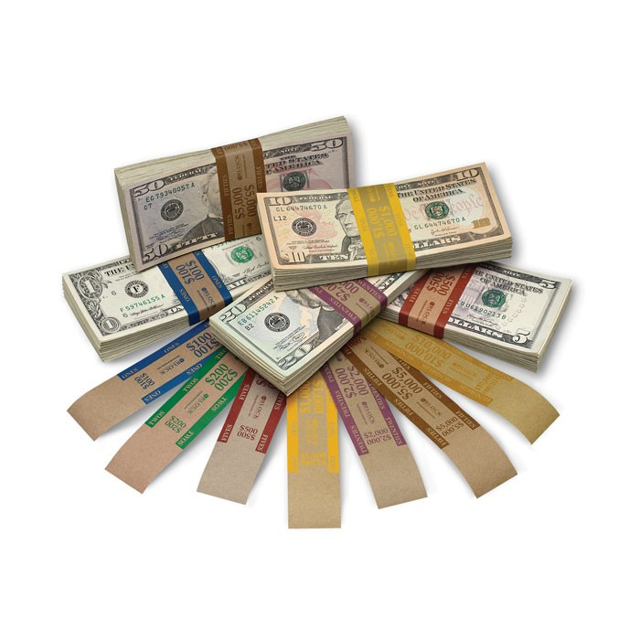Currency Straps Aba Color Bar Brown Kraft Block And